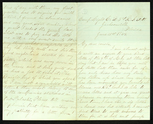 Letter from George Turner to his Cousin, 21 Jun 1864