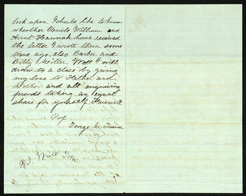 Letter from George Turner to his Cousin, 10 Jul 1862