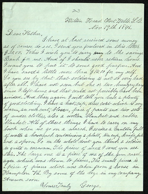 Letter from George Turner to his Father, 19 Nov 1861