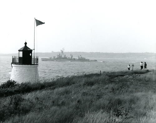 Castle Hill Light with Destroyer Z1 in Background