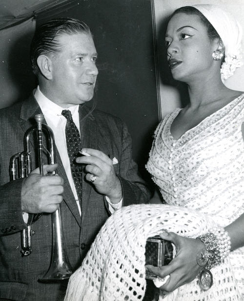 Wild Bill Davison and Sarah Vaughan at Jazz Festival, Newport