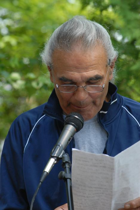 Willy Greene speaks at Mashapaug Pond Procession