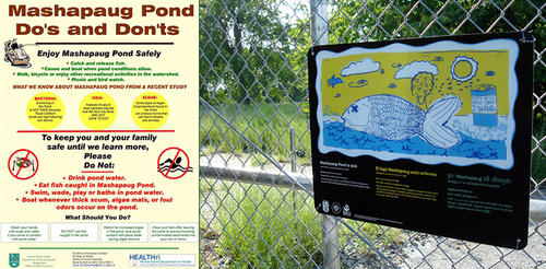 Comparison of old and new Mashapaug Pond sign designs