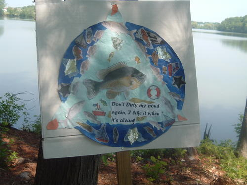 Protest sign against pollution in Mashapaug Pond