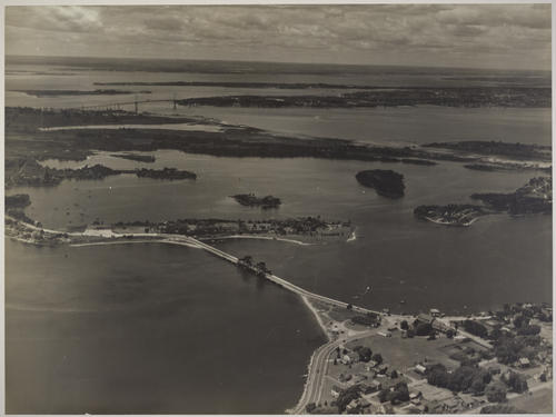 Narragansett and Mount Hope Bays - Old Stone Bridge and Mt. Hope Bridge, looking west