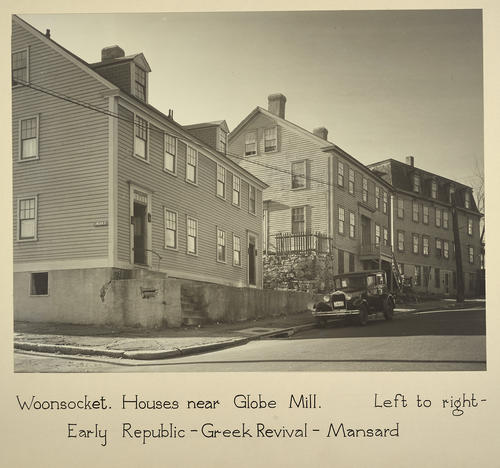 Woonsocket. Houses near Globe Mill. Left to right - Early Republic - Greek Revival - Mansard
