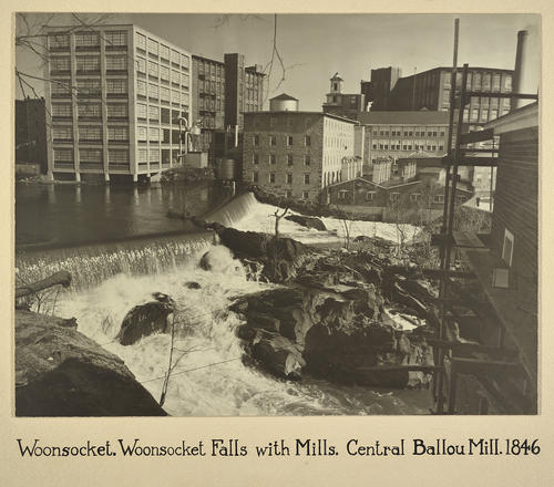 Woonsocket. Woonsocket Falls with Mills. Central Ballou Mill. 1846