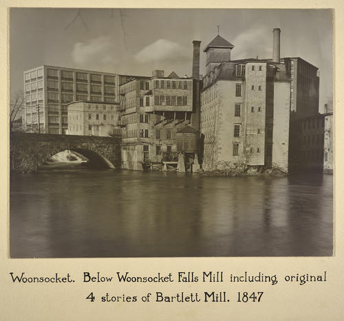 Woonsocket. Below Woonsocket Falls Mill including original 4 stories of Bartlett Mill. 1847
