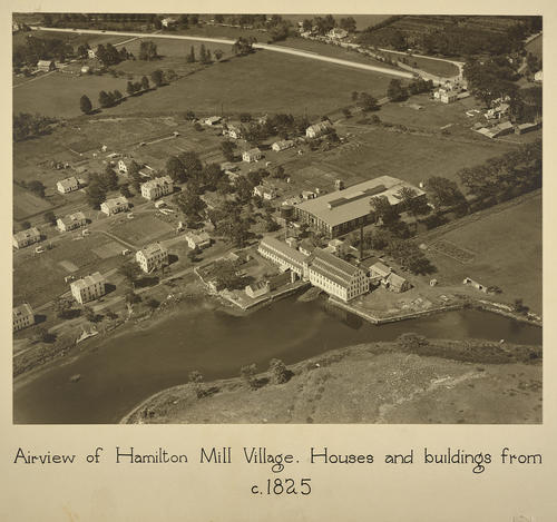 Airview of Hamilton Mill Village. Houses and buildings from c. 1825