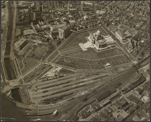 Rhode Island State House, Providence looking across freight yards, 1932 (unmounted)