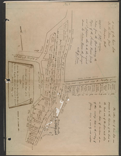 Plat of Home Lots in the Towne St., 1717-18, The Towne Street