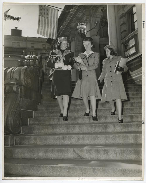 Women on library steps
