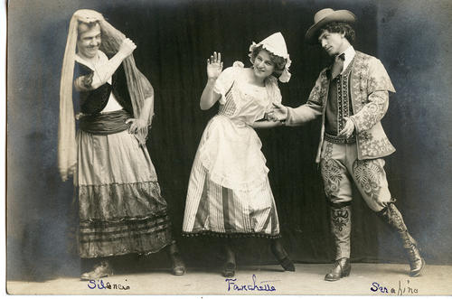 "Three actors in costume from ""The Romany Maid"""