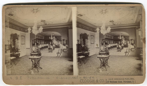 Interior of Clough & Co. hair dressing at 97 Weybosset Street