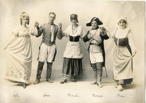 "Portrait of five actors from ""The Romany Maid"""