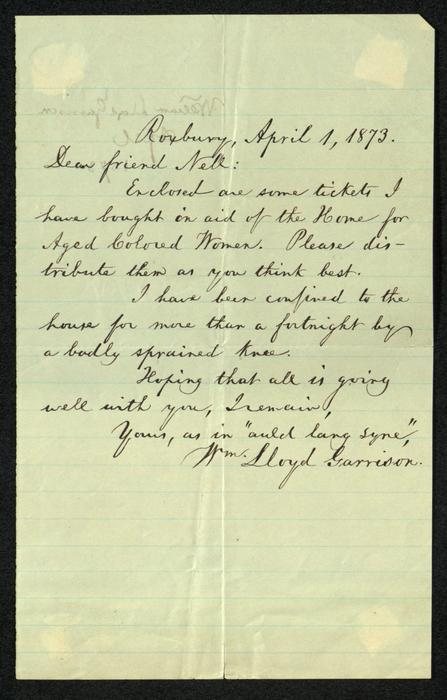 Letter accompanying tickets