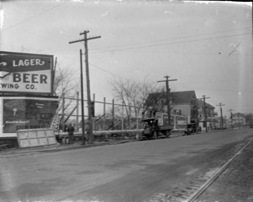 Construction and billboards along street
